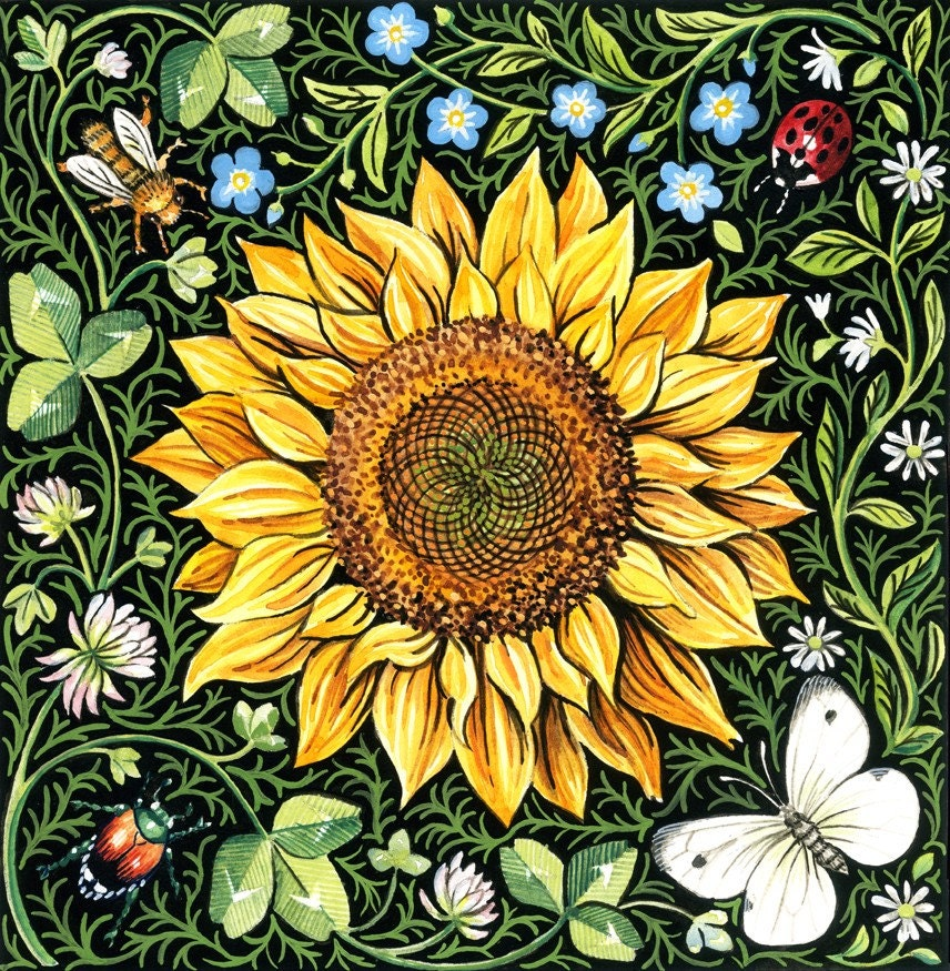 Sunflower and clover art print by giardino on etsy for Art sites like etsy