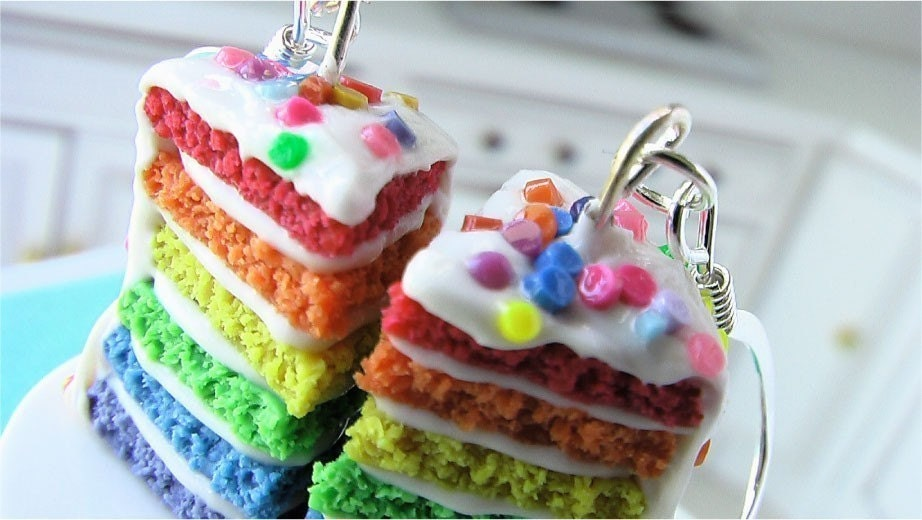 Rainbow Birthday Cake Earrings (Classic Palette)