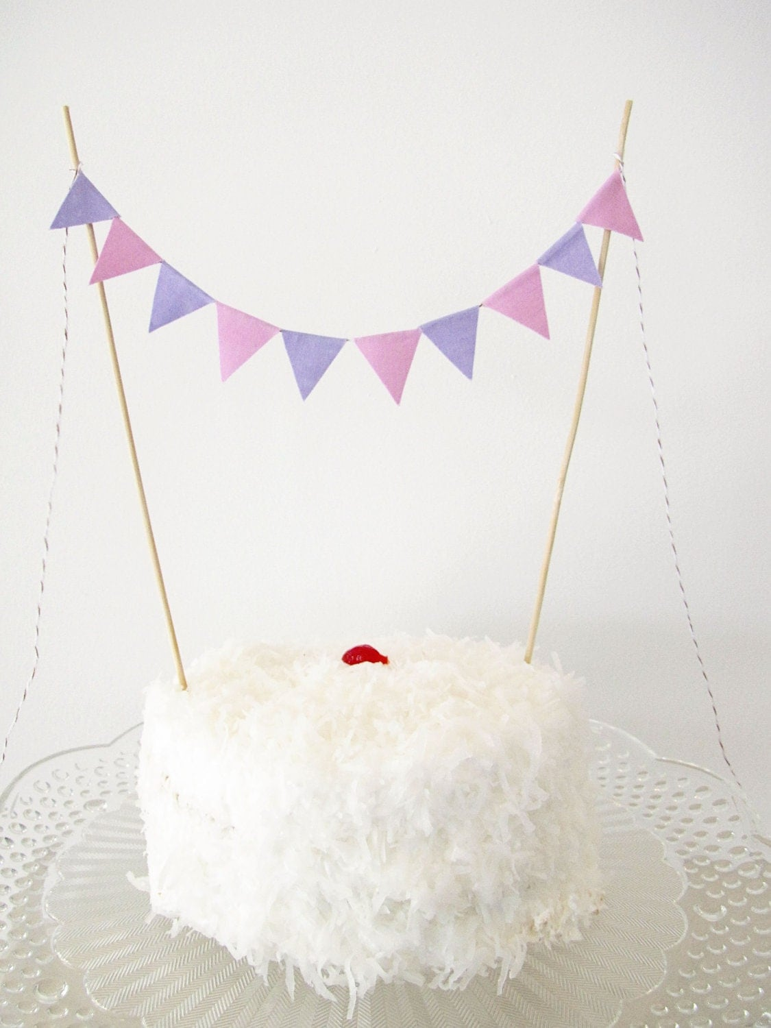 Fabric Cake Bunting Decoration - Cake Topper - Wedding, Birthday Party, Shower Decor in orchid and lilac