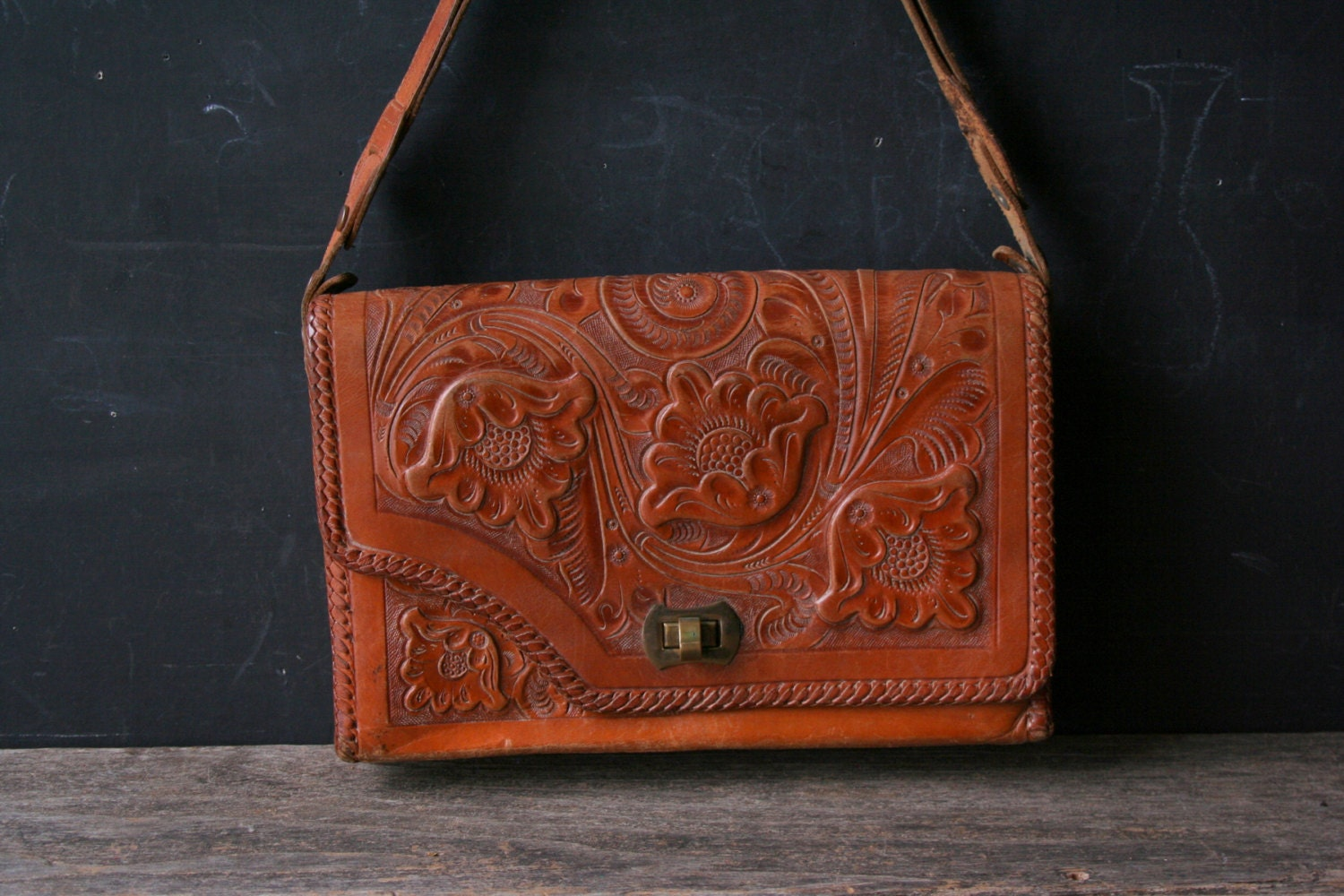 Unique Reversable Purse Hand Tooled Leather Western