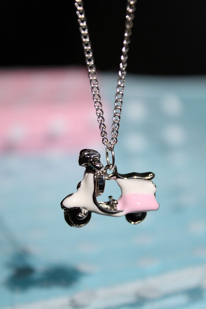 Little Pink Motor Scooter Enameled Necklace