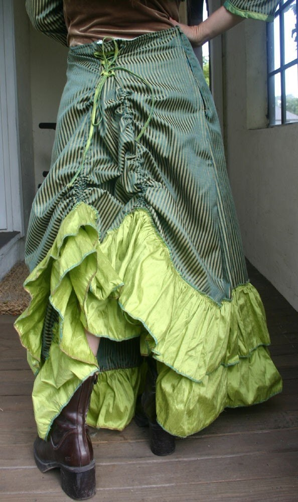 Green Stripe and Lime Bustle Skirt