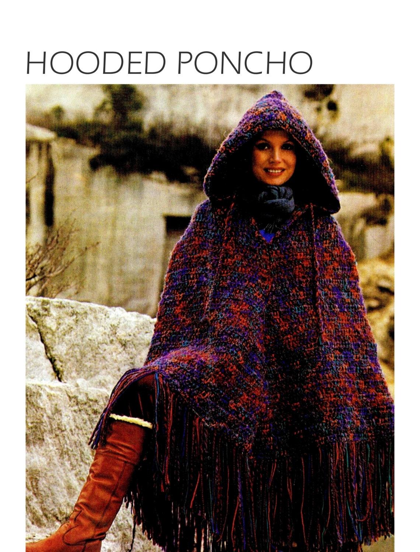 Vintage 70s Crochet HOODED Poncho PDF Pattern by ...