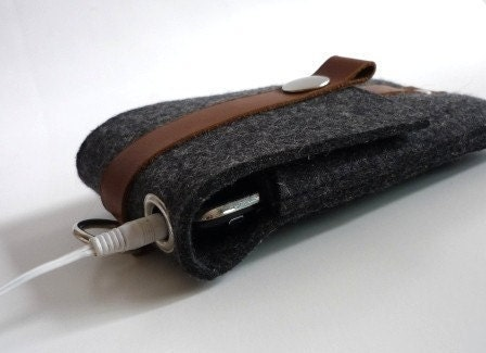 iphone, ipod ,cell, wallet  case industrial grey wool felt and tan leather by kazzki on etsy