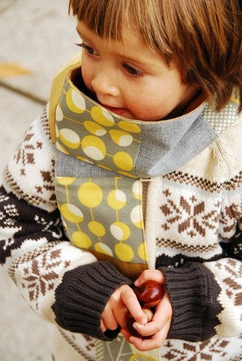 Little Scarf - yellow and grey