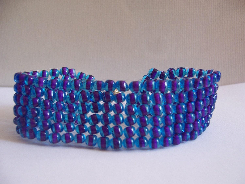 Beaded  Purple and Blue Bracelet