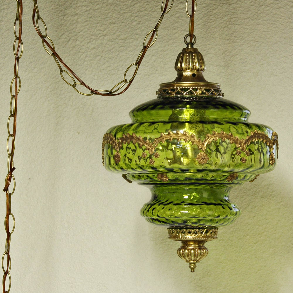 Vintage Hanging Light Hanging Lamp Green Globe By