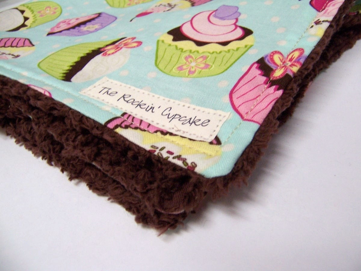 Chocolate Cupcake Chenille Security, Comfort, Lovey Baby Blanket