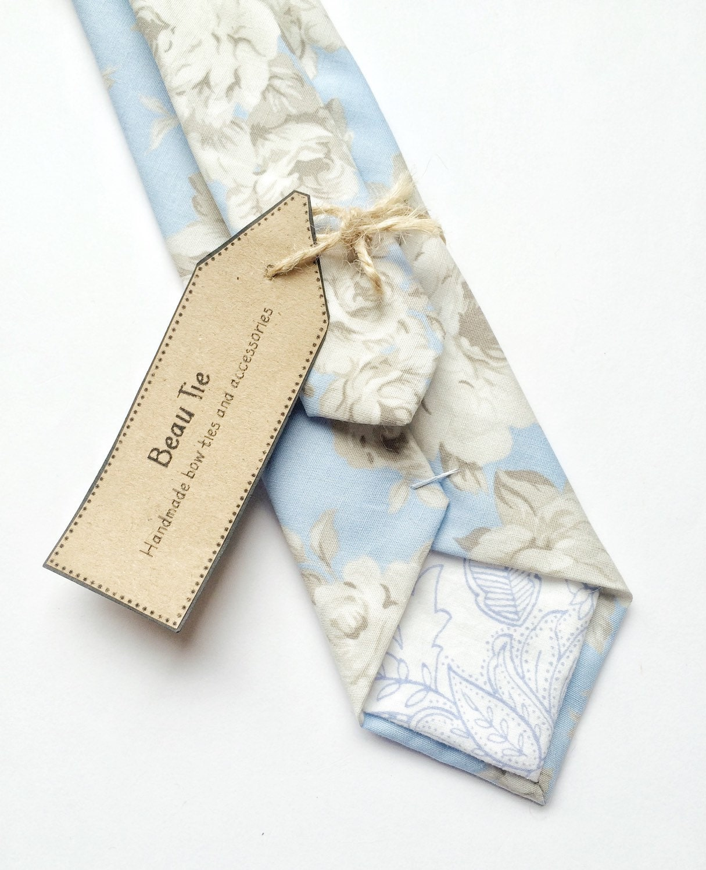Floral tie duck egg blue skinny tie Mens skinny tie wedding tie baby blue tie mens floral tie