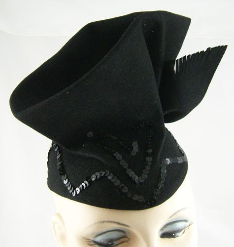 Vintage 1940s Deco Womens Black Cocktail Hat