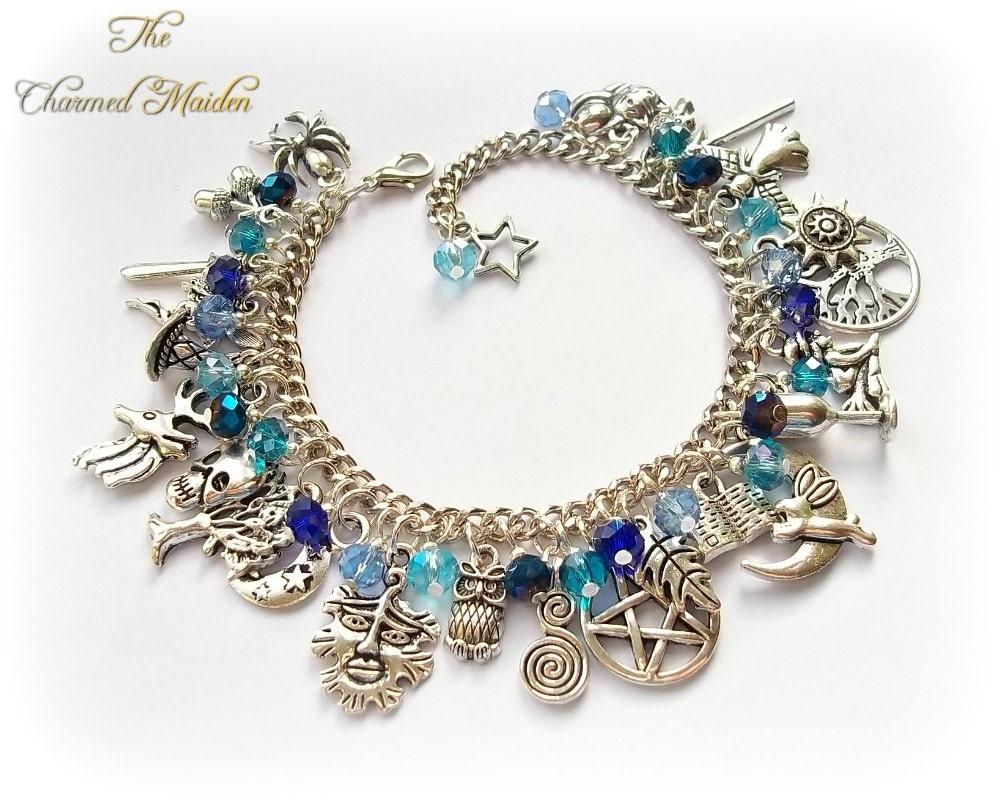 Blue Pagan Bracelet Wiccan Charm Bracelet Wicca Bracelet Blue Bracelet Witch Druid Magic Pagan Charms Pentagram Moon Gazing Hare