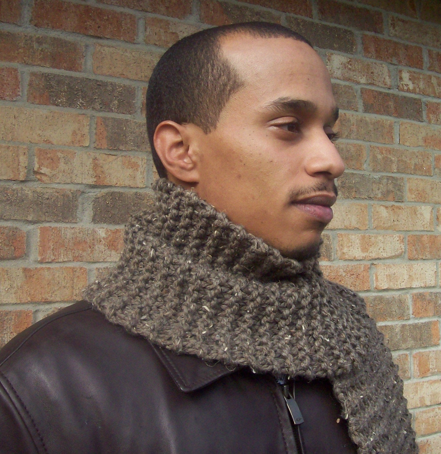 Ready to Ship-Brown/Oatmeal Colored Manly Thick Scarf-International Shipping Available