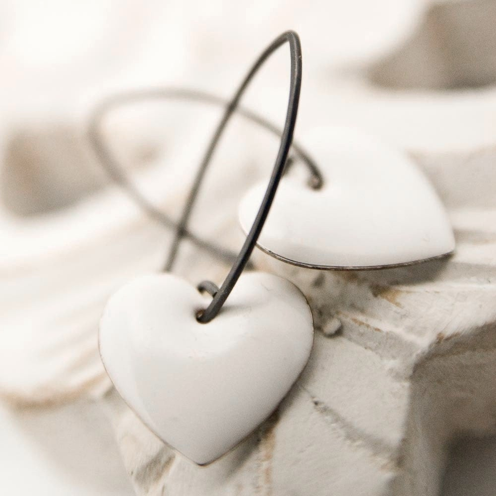 For You Earrings - Enamel silver hearts and sterling silver