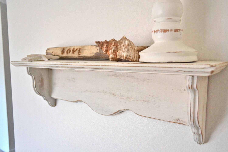 Items Similar To White Shabby Chic Distressed Wood Shelf