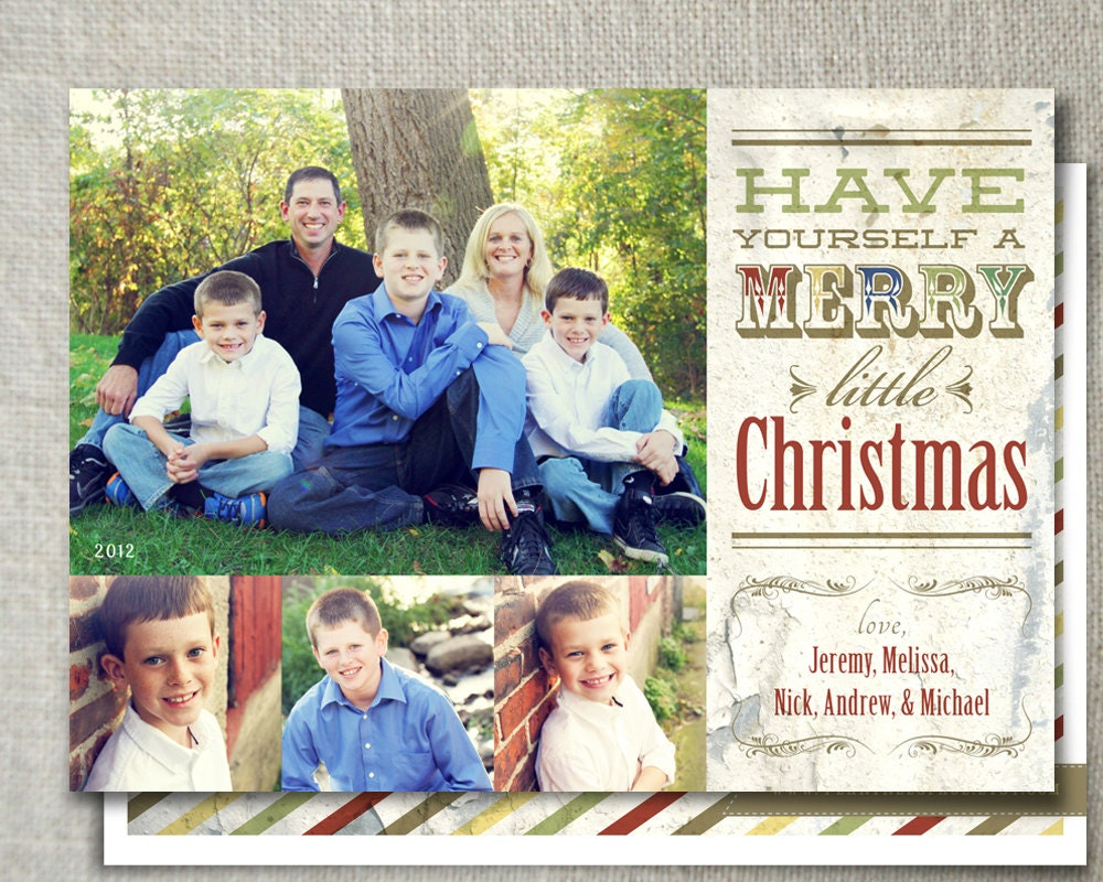 Items similar to shabby chic christmas photo card for Country chic christmas
