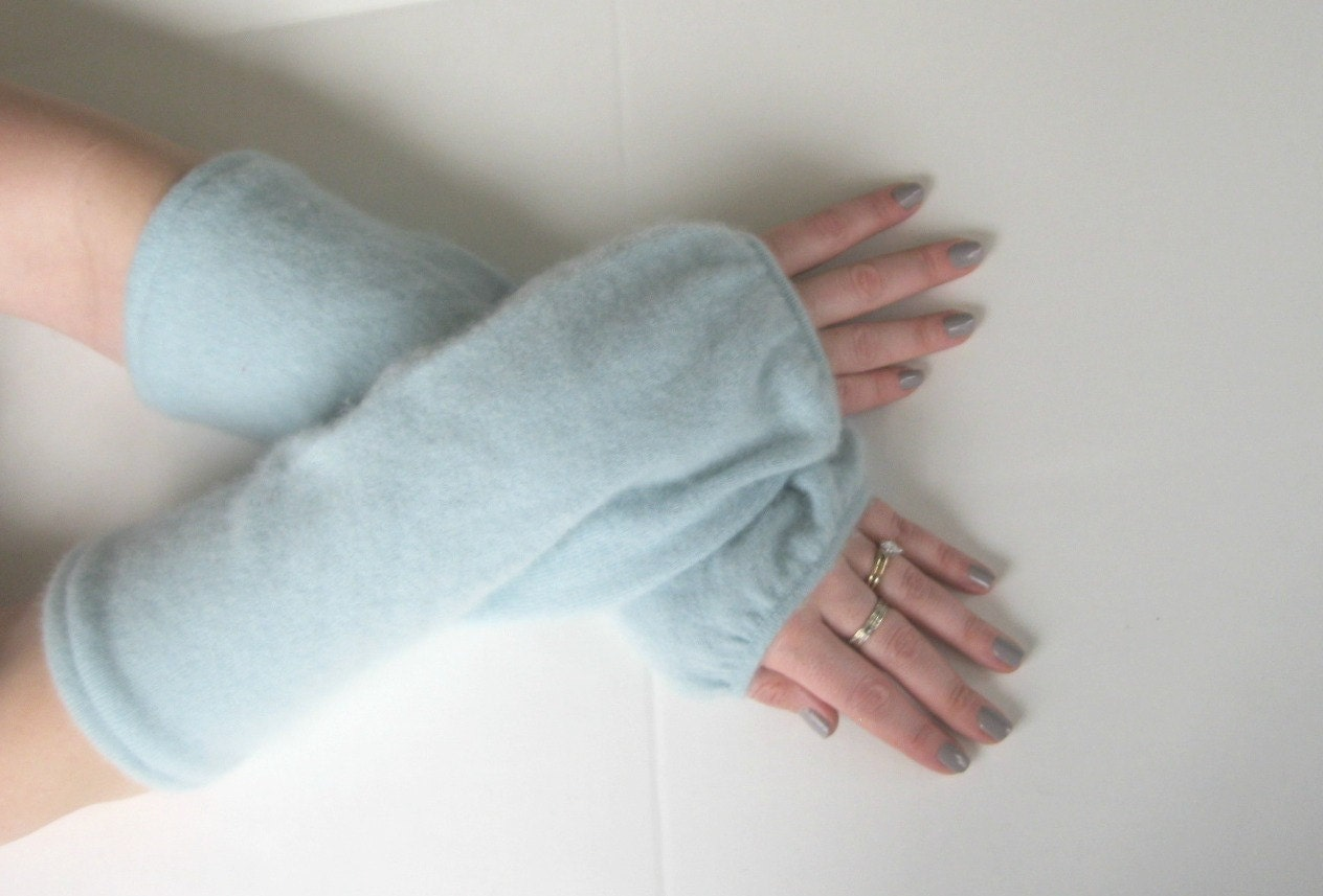 Spring Cashmere Gauntlets - Sea Foam - Texting Gloves - Upcycled Wrist Warmers Arm Warmers Eco Friendly - SewEcological