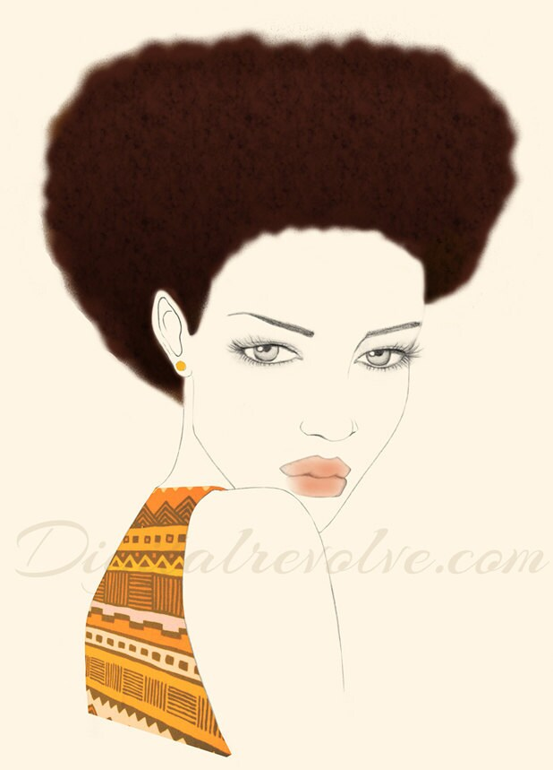 Fashion illustration - Afro styled hair with my sheek african print