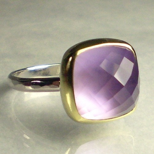 Amethyst over Mother of Pearl Ring - 18k Gold and Sterling
