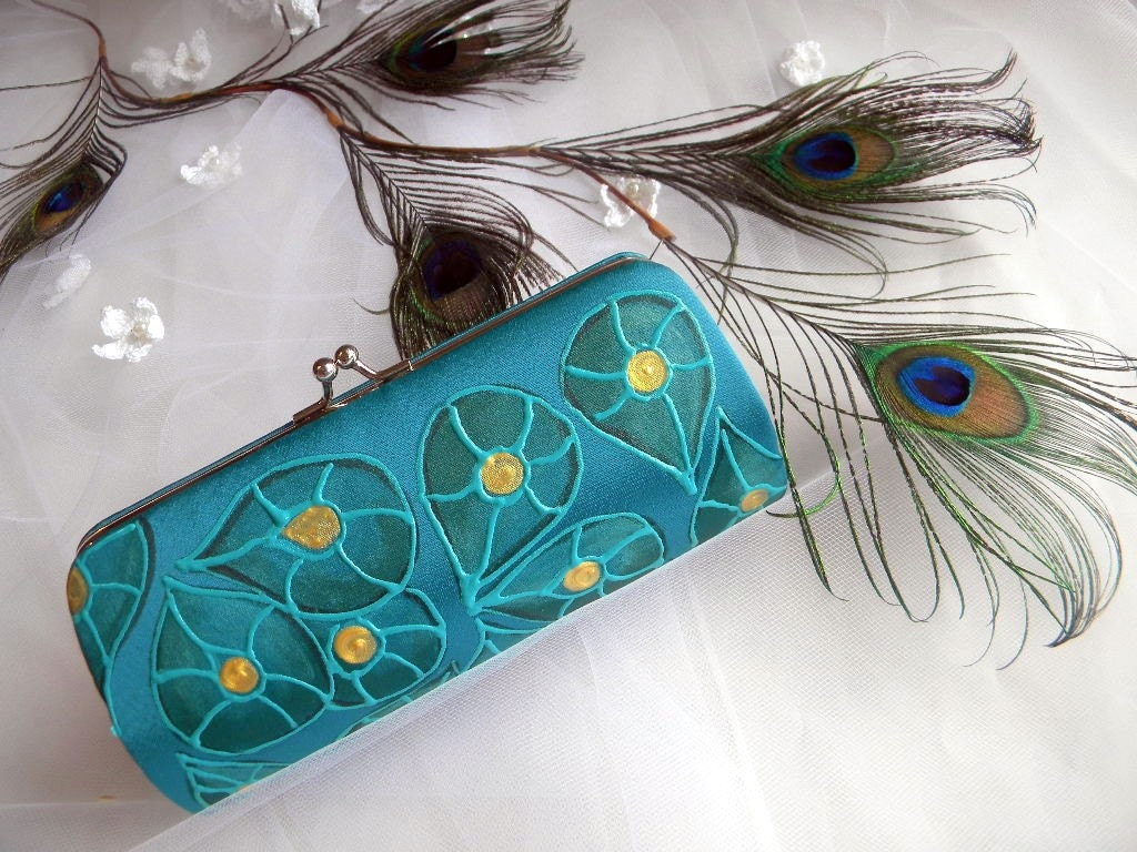 Painted Peacock feathers art deco small clutch for bridesmaids/bride -TEAL- Choose your own color and design