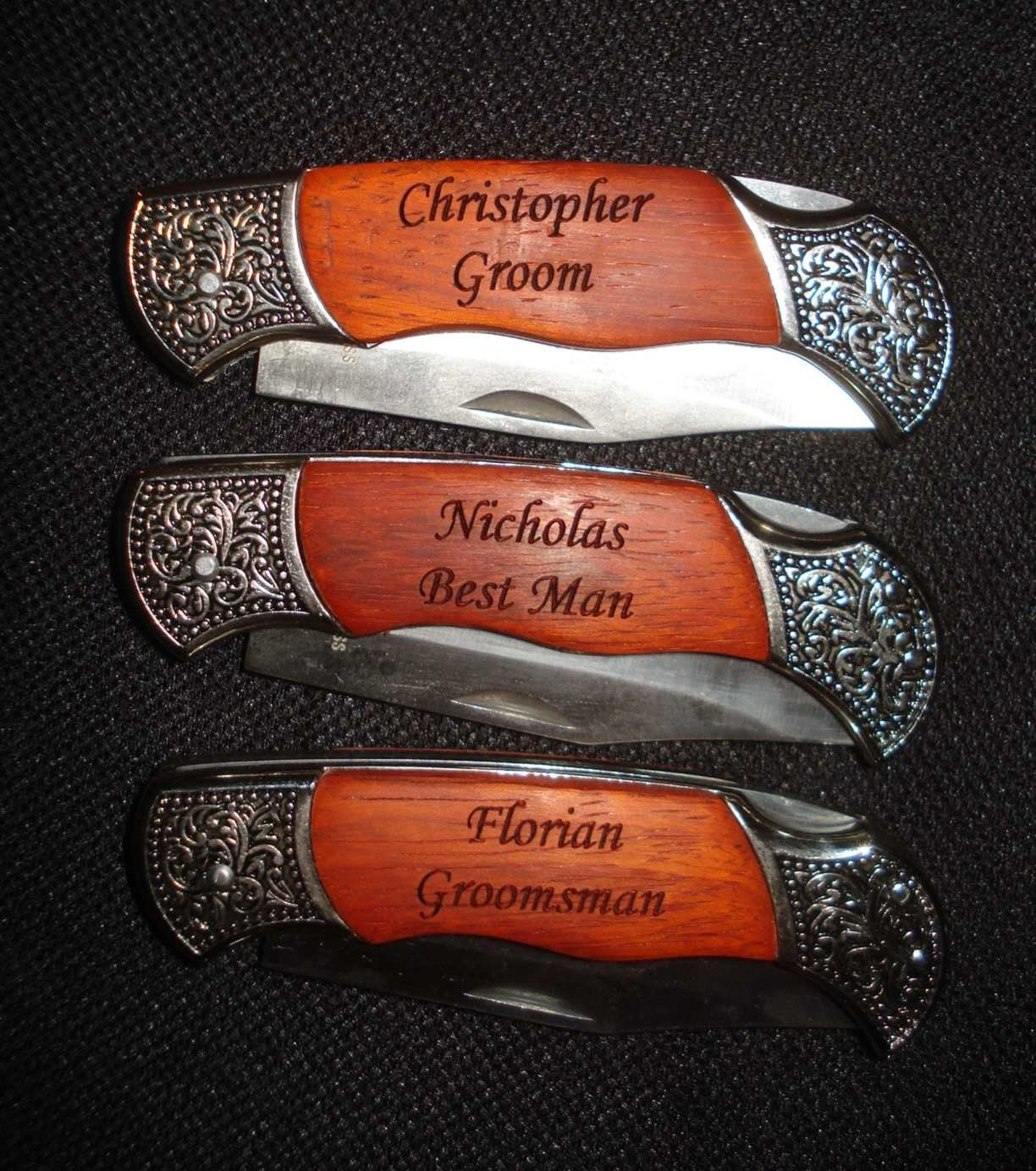 Gifts3 Personalized Engraved Pocket Knives. Groomsman, Wedding ...