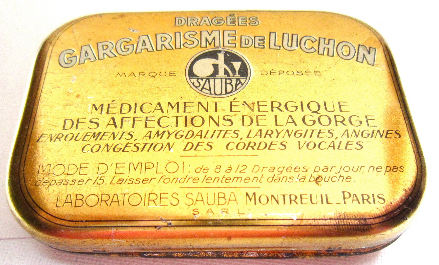 Vintage French medication tin box Gargarisme du Luchon
