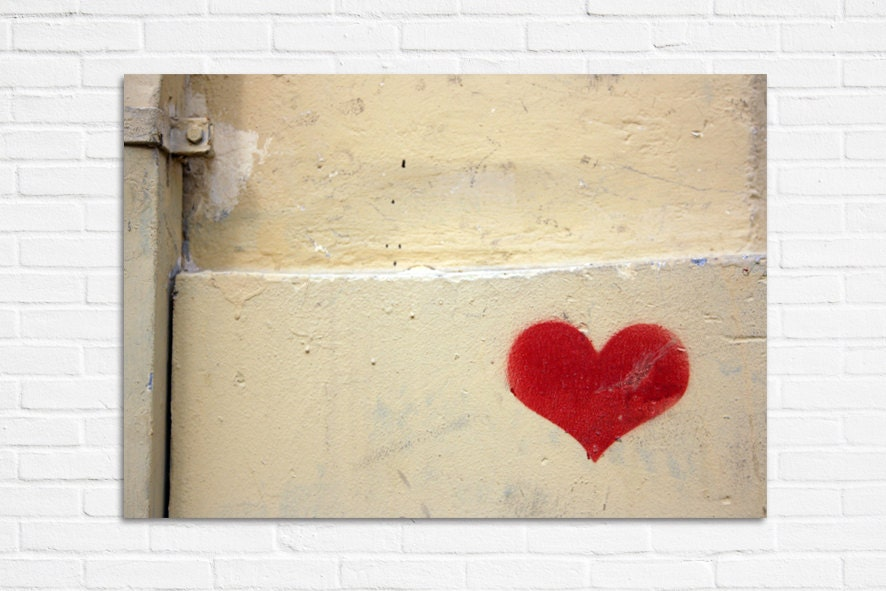Graffiti art love red heart photography print 8x10