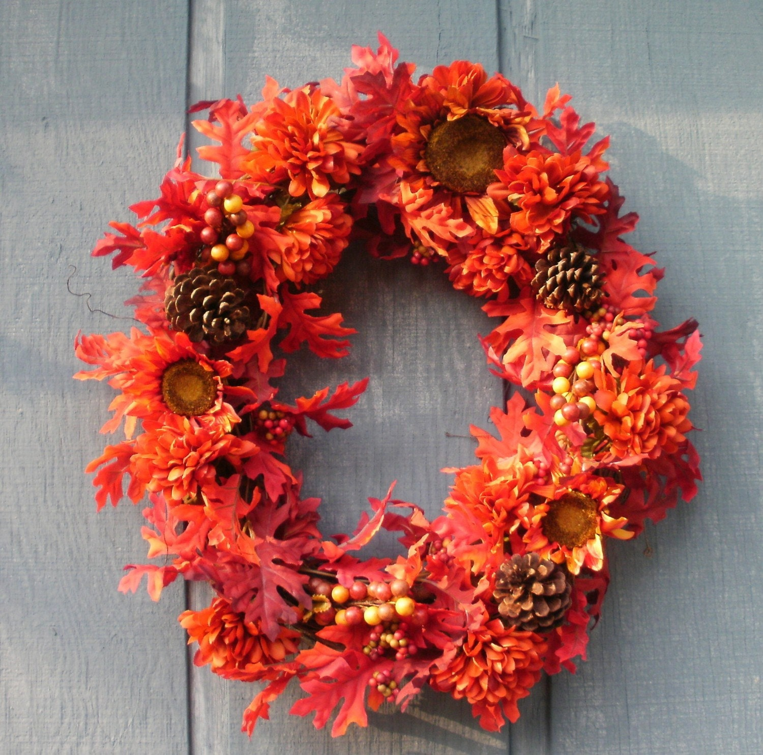 Fiery Fall Wreath by Silk N Lights Designs