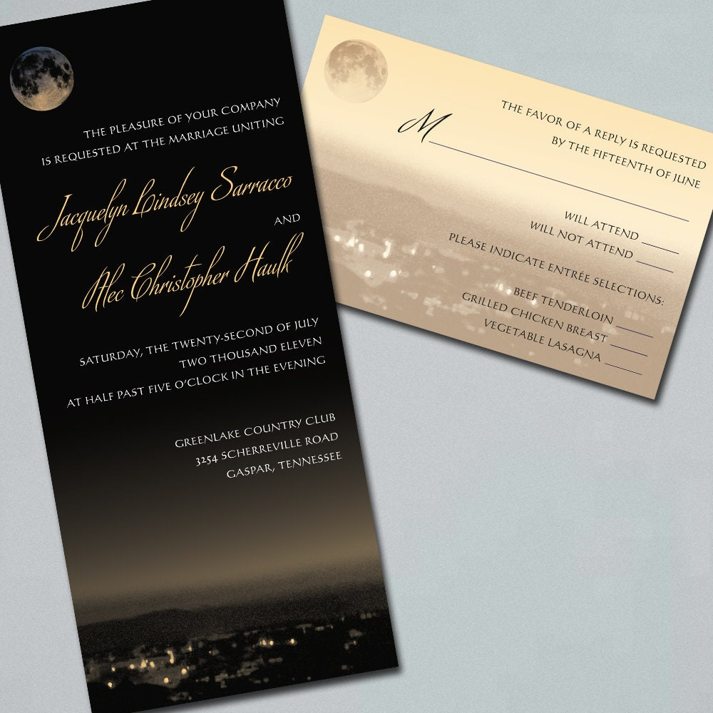Wedding Invitations Suite Full Moon Over Peaceful By