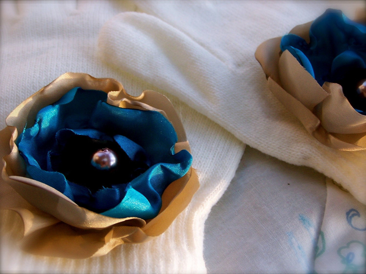 gloves adorned with a vintage flower