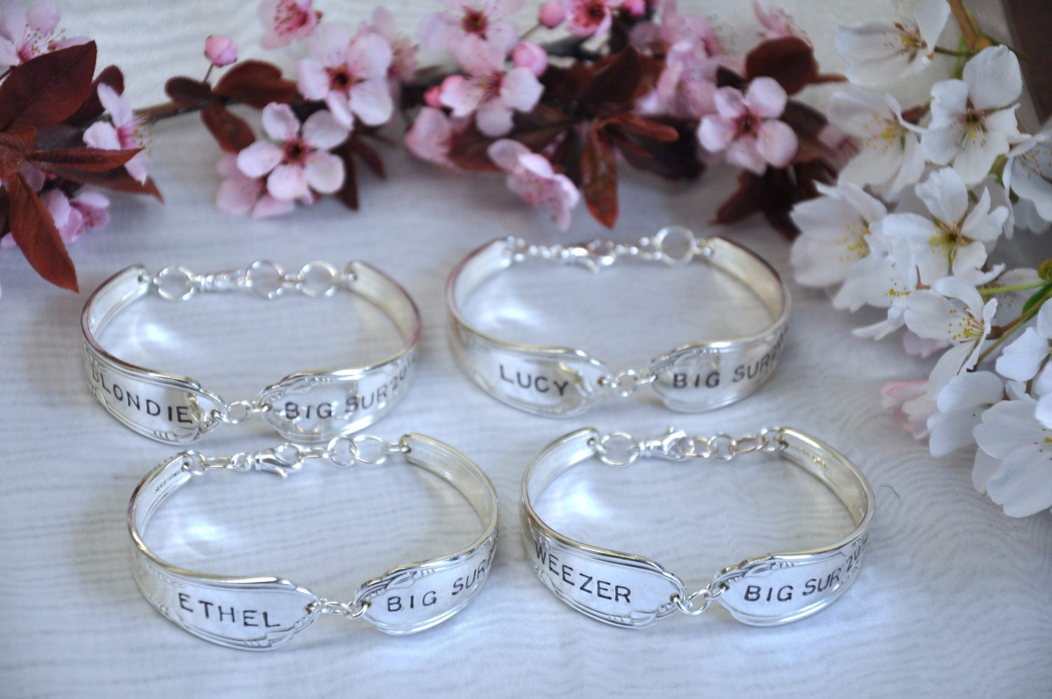 4 Silver Spoon Bracelets Personalized