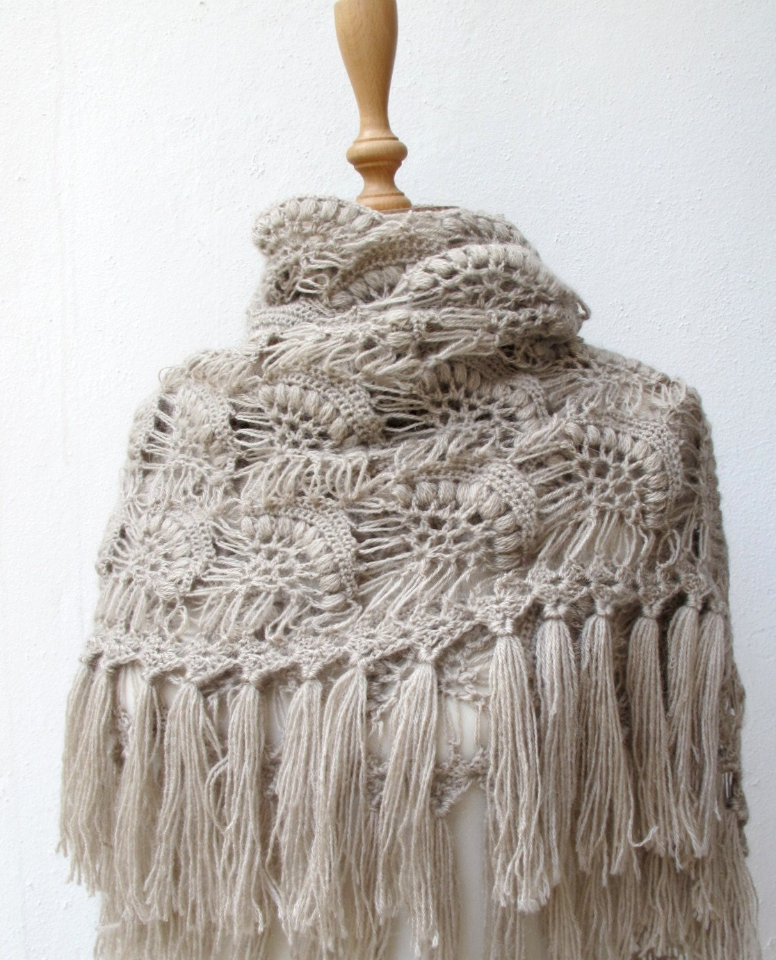 Crochet Shawl : Crochet Shawl Shoulder Wrap Shrug Winter Mohair Luxury Taupe Brown