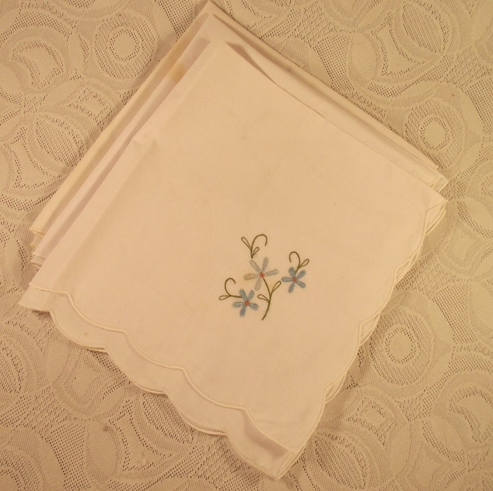 Vintage Hand Embroidered Linen Napkins with Beautiful Flowers
