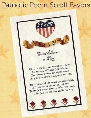 Patriotic Military Wedding Favors Poem Scrolls qty 50
