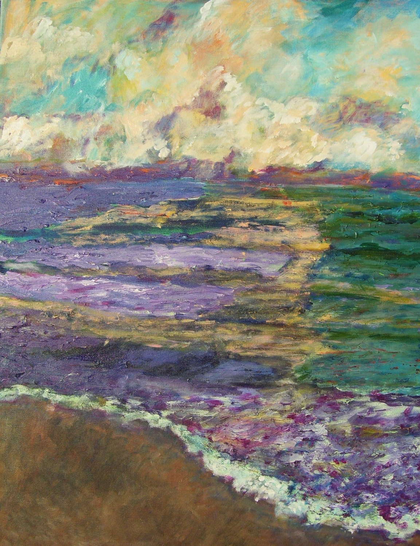 Impressionist Fine Art Acrylic Painting Beach at Sunset  24/ x 30 Monet inspired Decor Lavender Purple Blue Blue Green Tan Peach - TessiluStudio