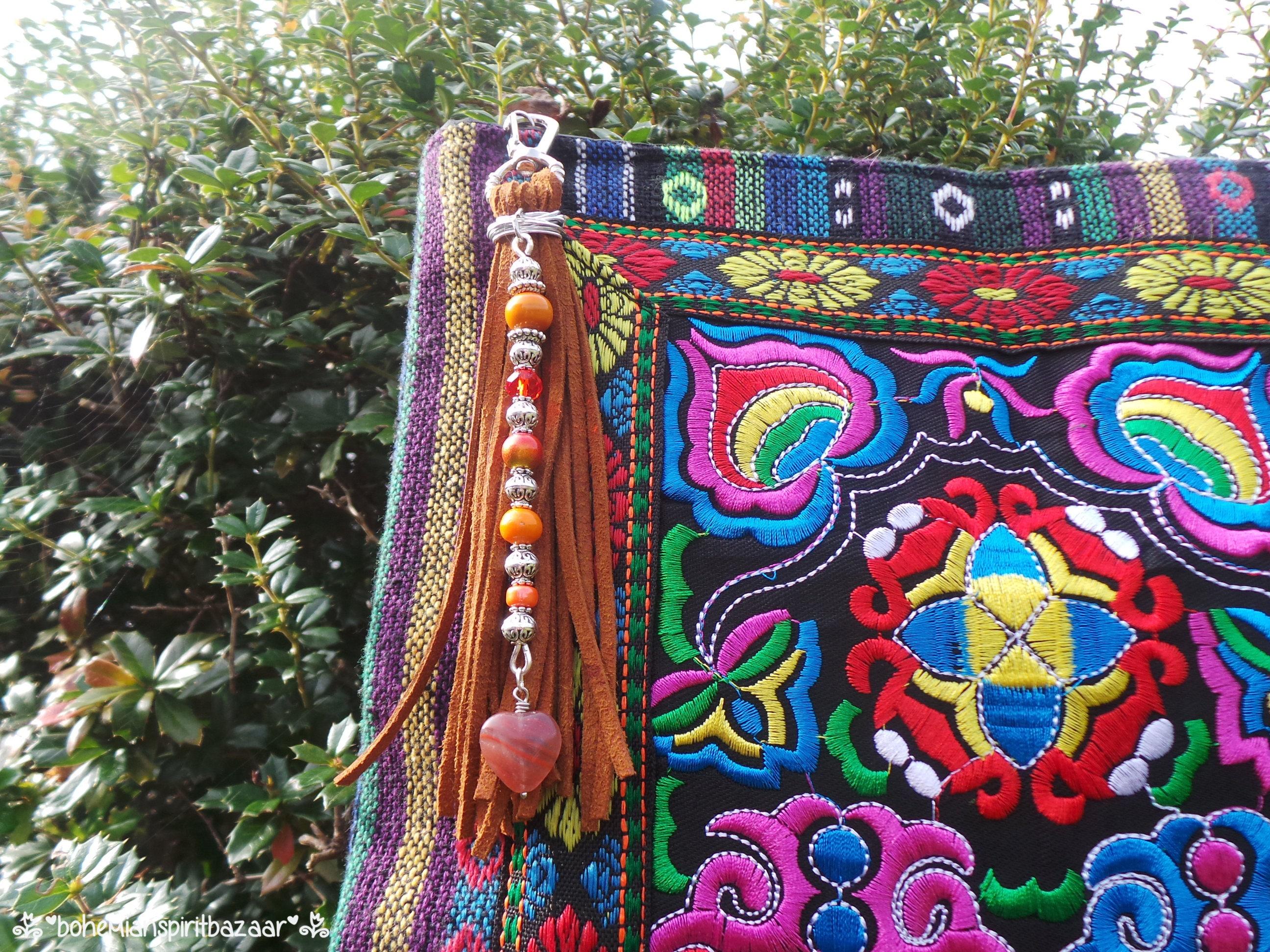 Bohemian Bag Charm, Boho Bag Charm, Tassel Bag Charm, Boho Key Ring, Tassel Purse Charm, Gemstone Bag Charm, Bohemian Purse Charm