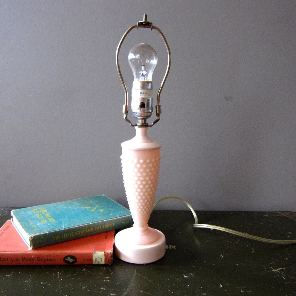 Perfectly Pink Hobnob Milk Glass Lamp - Works Great