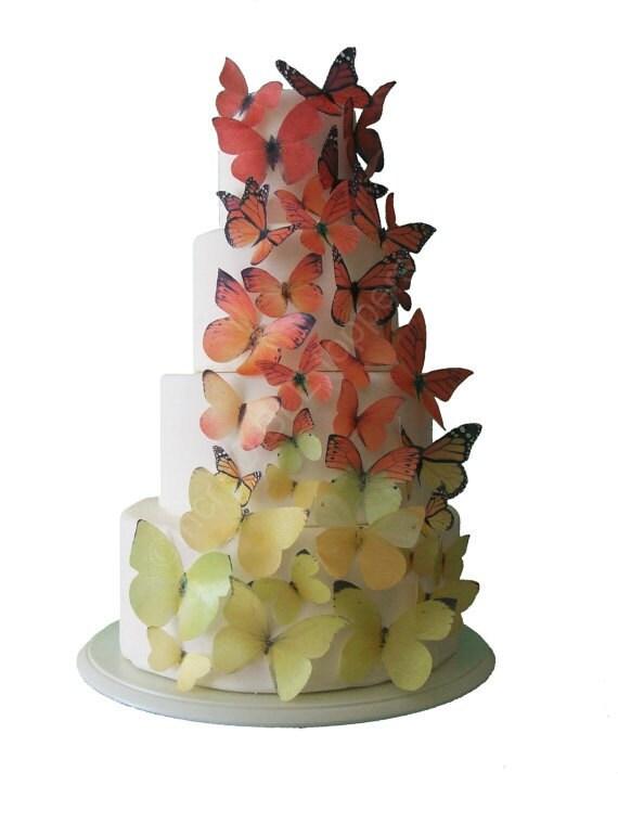 Wedding Cake Topper Ombre Edible Butterflies by ...