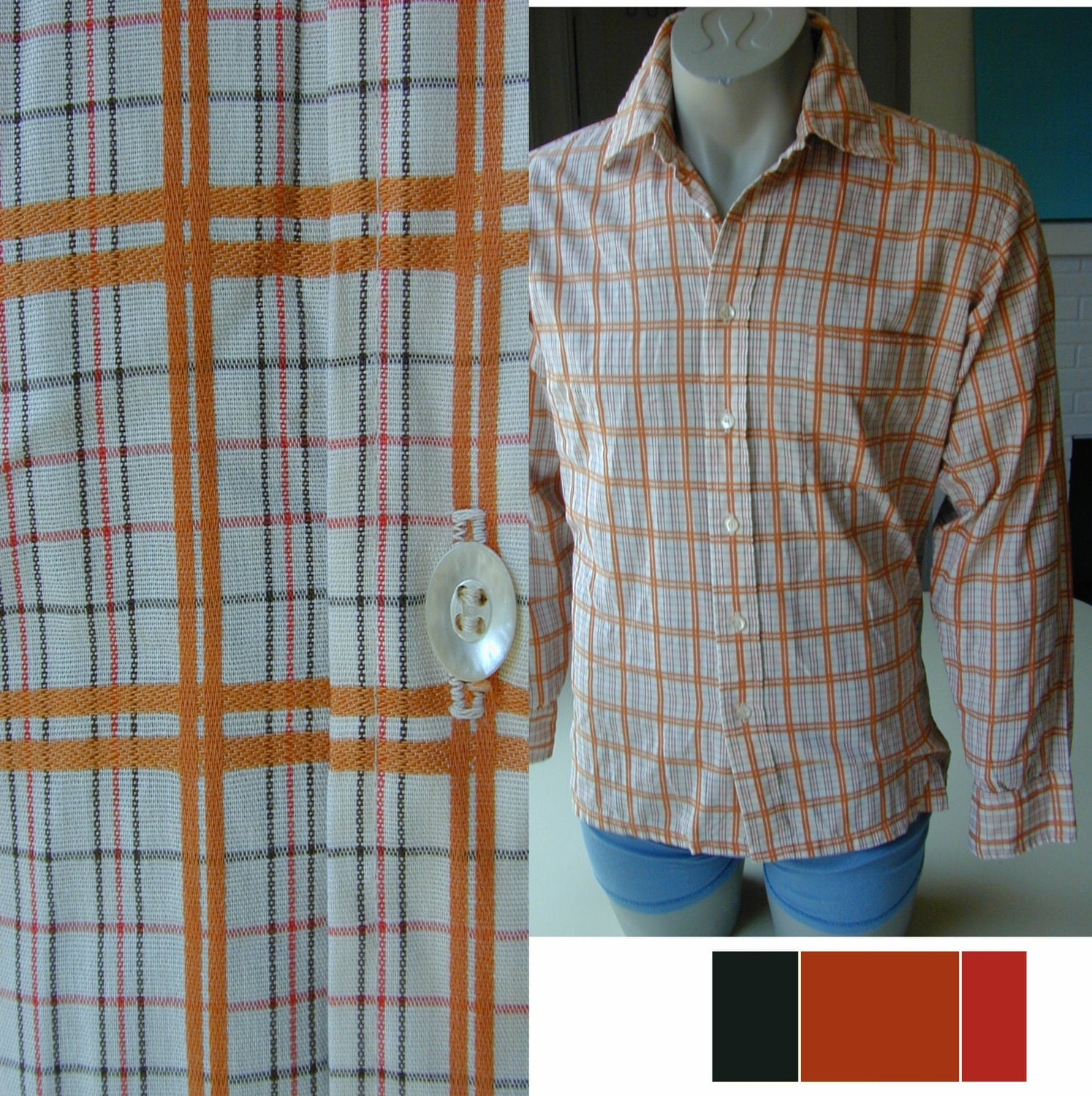 Men's Vintage 70's Cotton Terracotta Plaid Shirt M