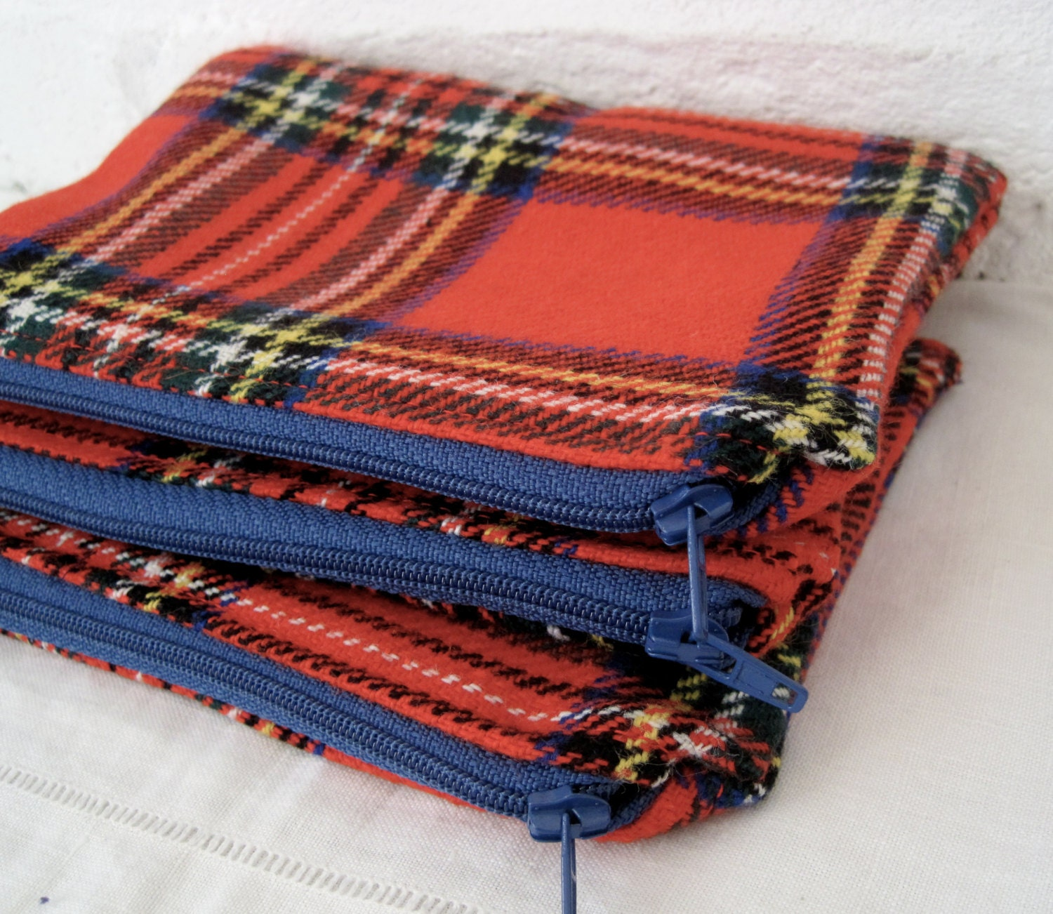 Handmade Recycled Bright Red Tartan Pouch