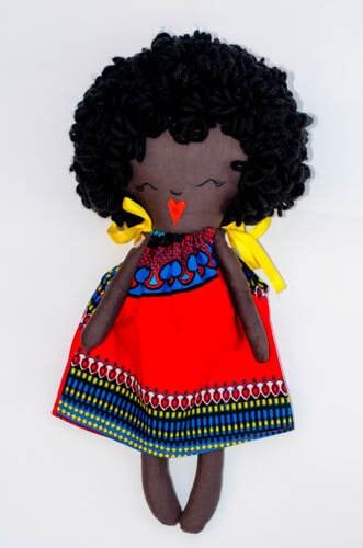 Handmade rag doll black rag doll kente print dress african print dress red cloth doll african american Doll dress up doll handmade