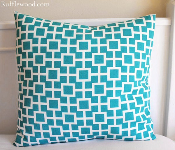 Turquoise Pillow Cover...18x18 Geometric