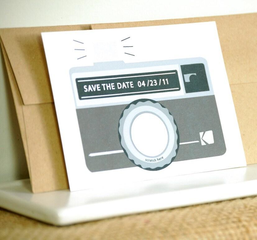 Scratch off Save the Date - Camera -