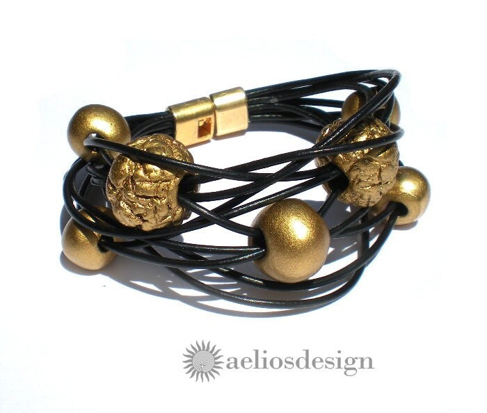 Black Gold Bracelet Genuine Greek Leather and Hand Painted Ceramic Beads