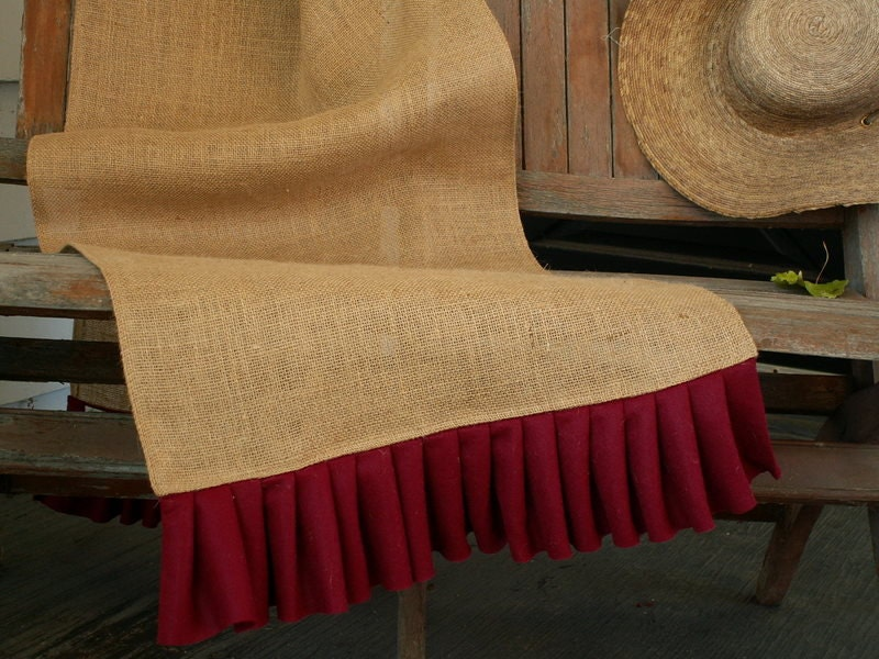 Christmas Holiday  Burlap Table Runner with Red Felt Pleated Ruffle