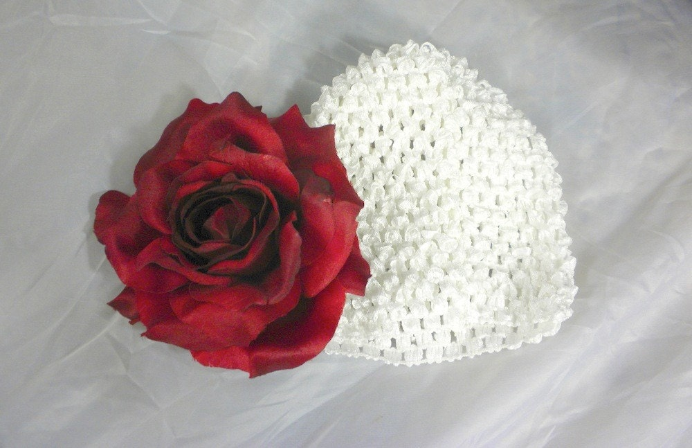 White n' Red Christmas Rose Waffle BEANIE Cap Hat - Crocheted with Extra Large Hair Flower- Fits Babies Newborns Infants Toddlers Girls