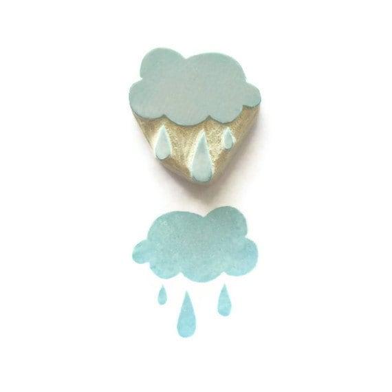 Little Blue, Rain Cloud - Rubber Stamp, Rain Cloud Stamp - Cling Rubber Stamp - creatiate