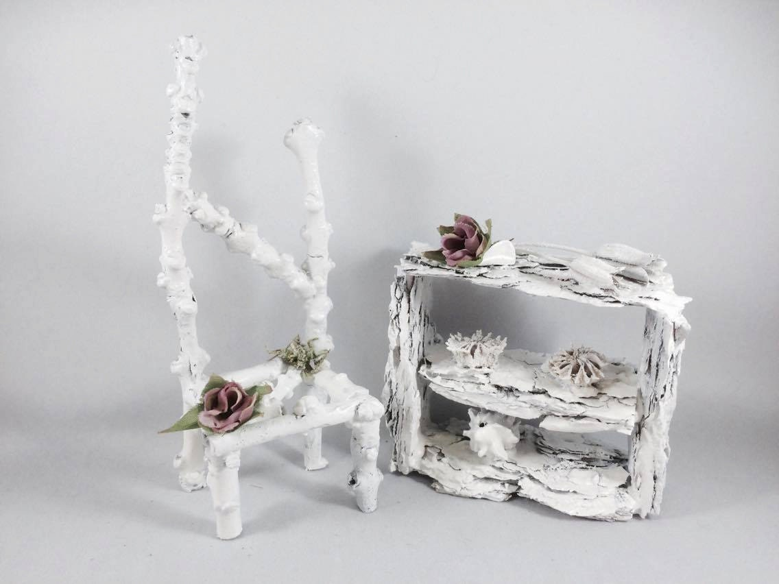 White Fairy Chair  Fairy Furniture Handcrafted Fairy House Fairy Doors Fairy Furniture Miniature Furniture Dollhouse furniture