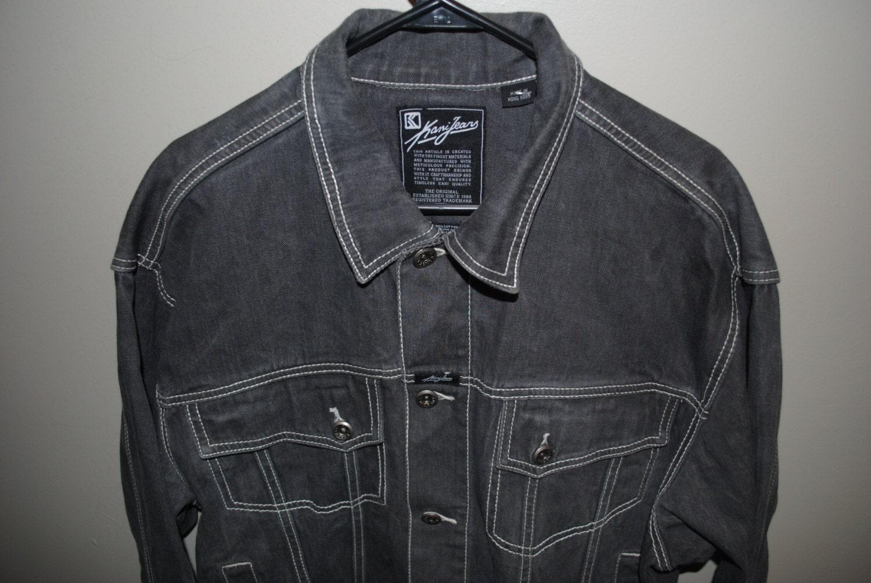 90 39 s karl kani black denim hip hop style jacket by vtgdallas. Black Bedroom Furniture Sets. Home Design Ideas