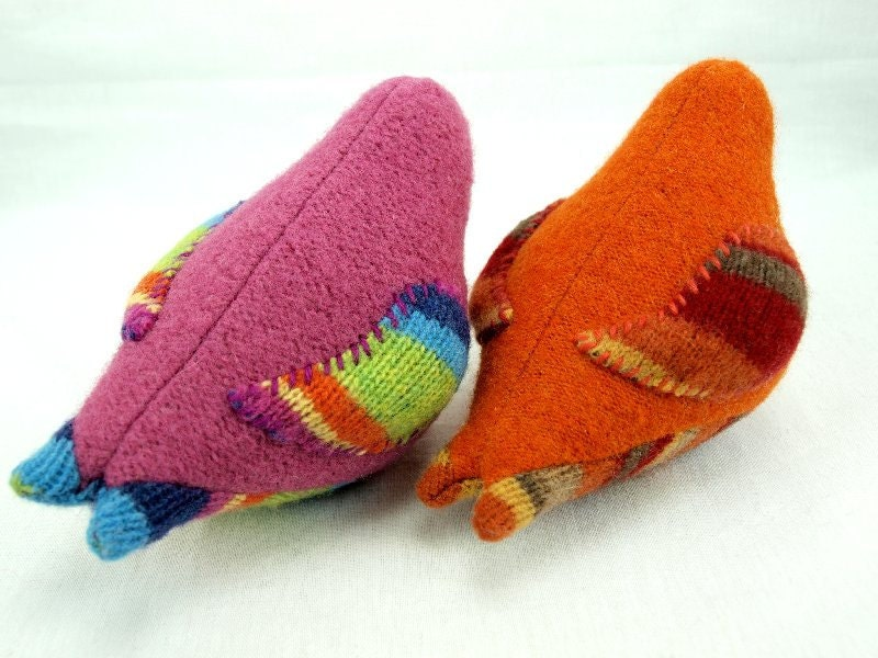 Upcycled Felted Wool Chubby Little Bird in Pink, Yellow, Green, Blue and Violet