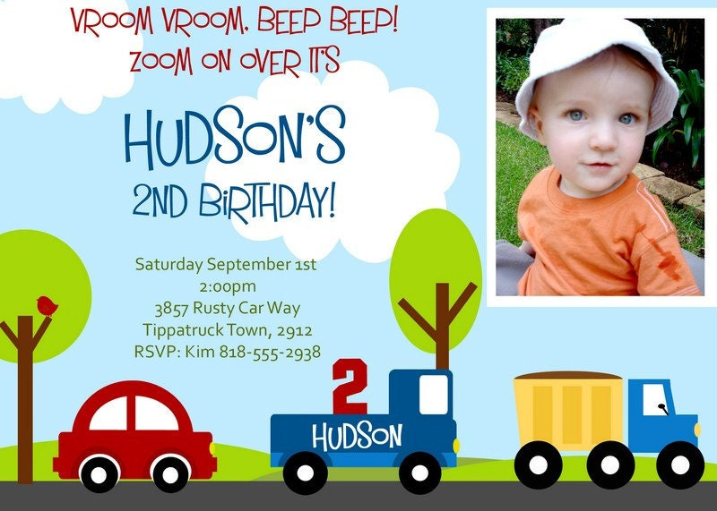 LITTLE CARS and TRUCKS Invitation with Photo. Printable